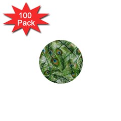 Peacock Feathers Pattern 1  Mini Buttons (100 pack)