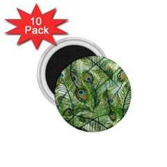 Peacock Feathers Pattern 1 75  Magnets (10 Pack)