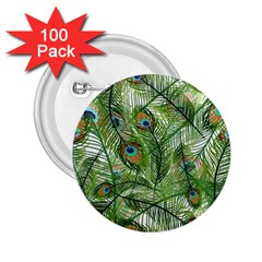 Peacock Feathers Pattern 2.25  Buttons (100 pack)
