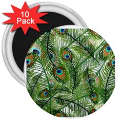 Peacock Feathers Pattern 3  Magnets (10 pack)