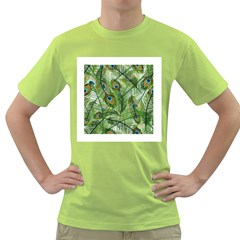 Peacock Feathers Pattern Green T Shirt