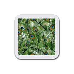 Peacock Feathers Pattern Rubber Square Coaster (4 pack)