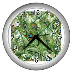Peacock Feathers Pattern Wall Clocks (silver)