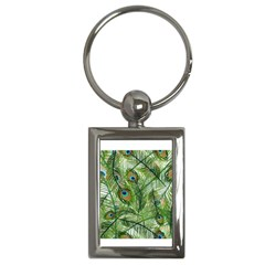Peacock Feathers Pattern Key Chains (Rectangle)