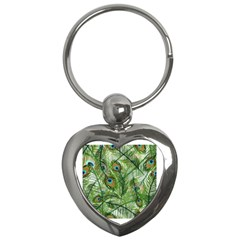 Peacock Feathers Pattern Key Chains (Heart)