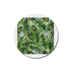Peacock Feathers Pattern Rubber Round Coaster (4 pack)