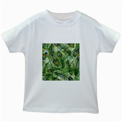 Peacock Feathers Pattern Kids White T-Shirts