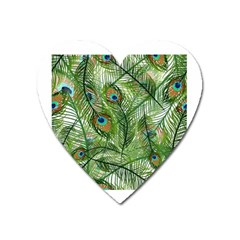 Peacock Feathers Pattern Heart Magnet