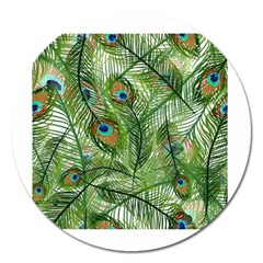 Peacock Feathers Pattern Magnet 5  (Round)