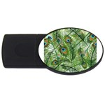 Peacock Feathers Pattern USB Flash Drive Oval (2 GB) Front