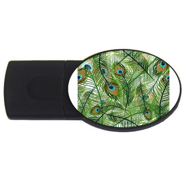 Peacock Feathers Pattern USB Flash Drive Oval (2 GB)