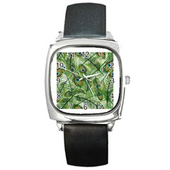 Peacock Feathers Pattern Square Metal Watch