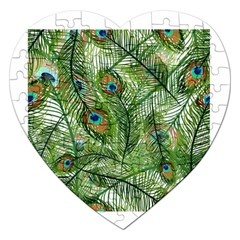 Peacock Feathers Pattern Jigsaw Puzzle (Heart)