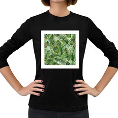 Peacock Feathers Pattern Women s Long Sleeve Dark T Shirts