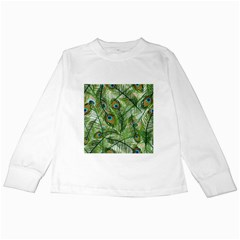 Peacock Feathers Pattern Kids Long Sleeve T-Shirts