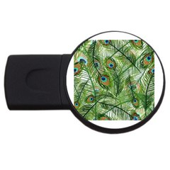 Peacock Feathers Pattern USB Flash Drive Round (4 GB)