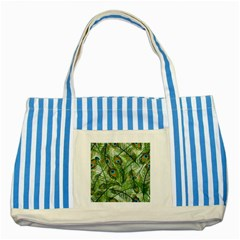 Peacock Feathers Pattern Striped Blue Tote Bag
