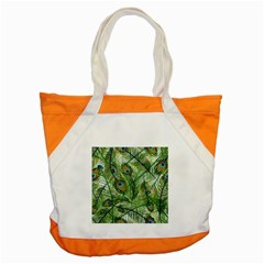 Peacock Feathers Pattern Accent Tote Bag