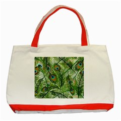 Peacock Feathers Pattern Classic Tote Bag (Red)