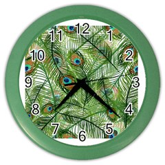 Peacock Feathers Pattern Color Wall Clocks
