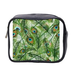 Peacock Feathers Pattern Mini Toiletries Bag 2 Side