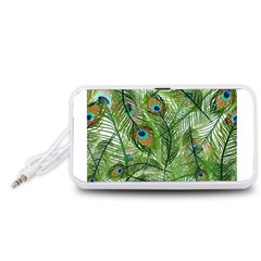 Peacock Feathers Pattern Portable Speaker (White)