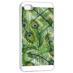 Peacock Feathers Pattern Apple iPhone 4/4s Seamless Case (White)
