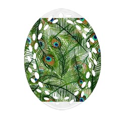 Peacock Feathers Pattern Oval Filigree Ornament (Two Sides)