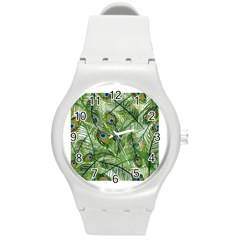 Peacock Feathers Pattern Round Plastic Sport Watch (M)