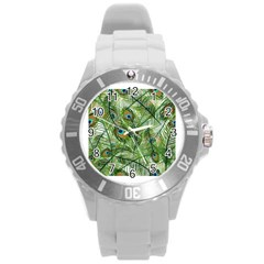 Peacock Feathers Pattern Round Plastic Sport Watch (l)