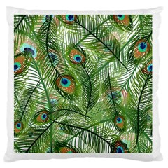 Peacock Feathers Pattern Large Cushion Case (One Side)