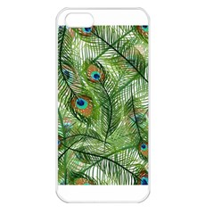 Peacock Feathers Pattern Apple iPhone 5 Seamless Case (White)