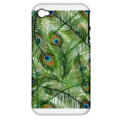 Peacock Feathers Pattern Apple iPhone 4/4S Hardshell Case (PC+Silicone)