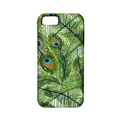 Peacock Feathers Pattern Apple Iphone 5 Classic Hardshell Case (pc+silicone)