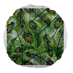 Peacock Feathers Pattern Large 18  Premium Round Cushions