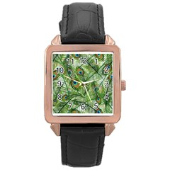 Peacock Feathers Pattern Rose Gold Leather Watch