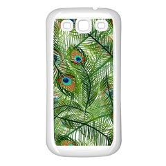 Peacock Feathers Pattern Samsung Galaxy S3 Back Case (White)
