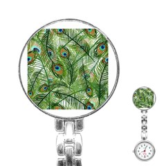 Peacock Feathers Pattern Stainless Steel Nurses Watch