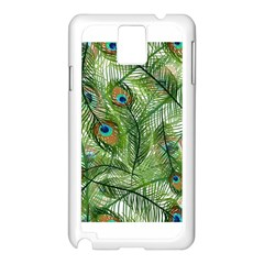 Peacock Feathers Pattern Samsung Galaxy Note 3 N9005 Case (White)