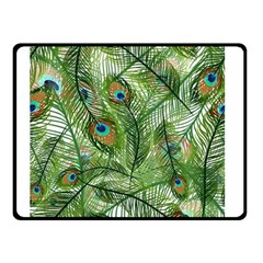 Peacock Feathers Pattern Double Sided Fleece Blanket (Small)