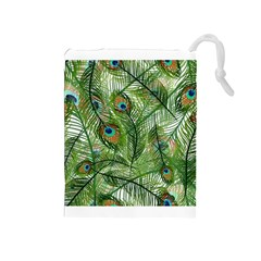 Peacock Feathers Pattern Drawstring Pouches (Medium)