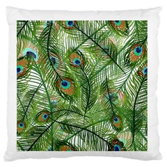 Peacock Feathers Pattern Large Flano Cushion Case (One Side)