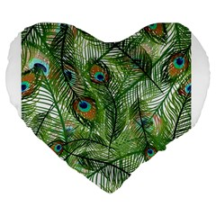 Peacock Feathers Pattern Large 19  Premium Flano Heart Shape Cushions