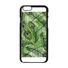 Peacock Feathers Pattern Apple iPhone 6/6S Black Enamel Case