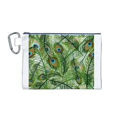 Peacock Feathers Pattern Canvas Cosmetic Bag (M)