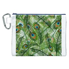 Peacock Feathers Pattern Canvas Cosmetic Bag (XXL)