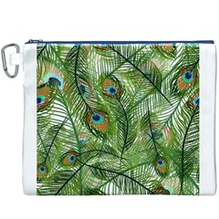Peacock Feathers Pattern Canvas Cosmetic Bag (XXXL)