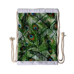 Peacock Feathers Pattern Drawstring Bag (Small)