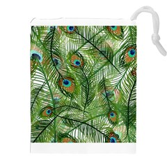Peacock Feathers Pattern Drawstring Pouches (XXL)
