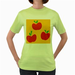 Apple Fruit Red Orange Women s Green T-Shirt